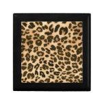Fondo del estampado leopardo caja de recuerdo