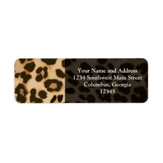 Fondo del estampado leopardo etiqueta de remite