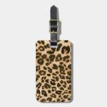 Fondo del estampado leopardo etiquetas para maletas