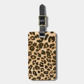 Fondo del estampado leopardo etiqueta para maleta