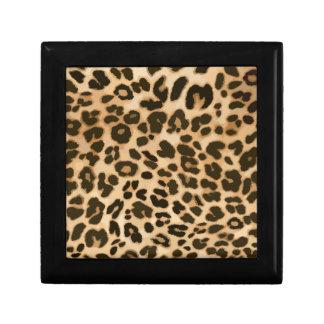 Fondo del estampado leopardo joyero cuadrado pequeño