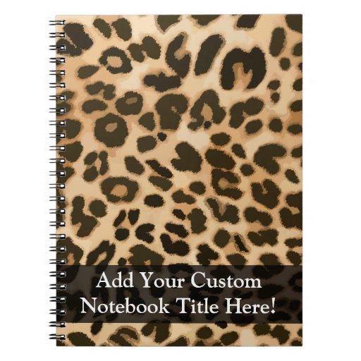 Fondo del estampado leopardo libretas espirales