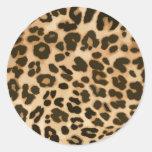 Fondo del estampado leopardo pegatina redonda