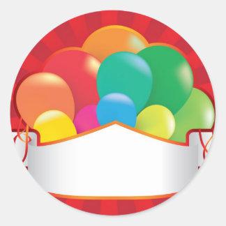 fondo del fiesta del globo con las flámulas etiqueta