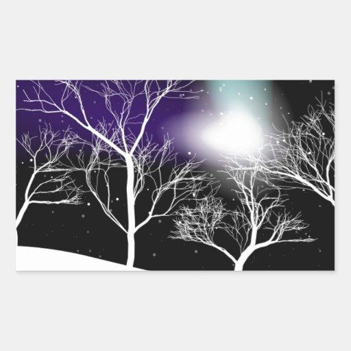 Fondo del invierno pegatina rectangular