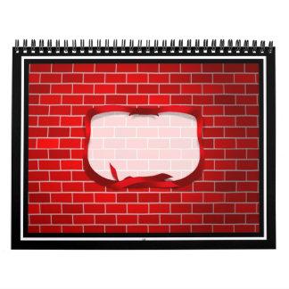 Fondo del ladrillo rojo calendario de pared