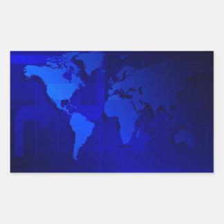 Fondo del mapa del mundo pegatina rectangular