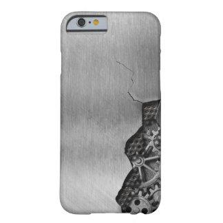 Fondo del metal con daño mecánico funda para iPhone 6 barely there