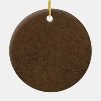 Fondo del modelo de la textura del cuero marrón adorno redondo de cerámica
