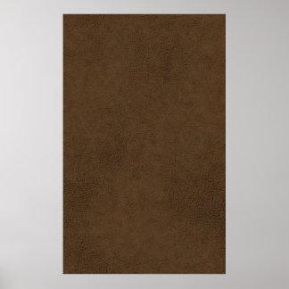 Fondo del modelo de la textura del cuero marrón póster