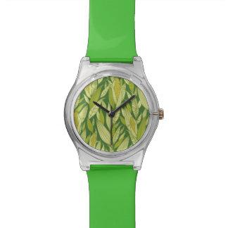 Fondo del modelo de las plantas de maíz relojes de pulsera
