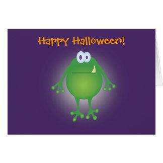 ¡fondo del monstruo w de la rana, feliz Halloween! Tarjeta De Felicitación