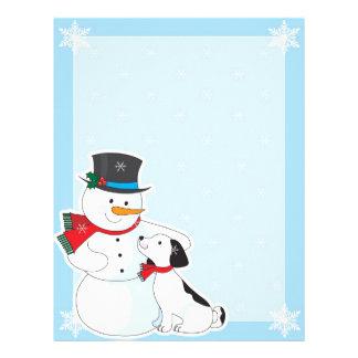 Fondo del muñeco de nieve membretes personalizados