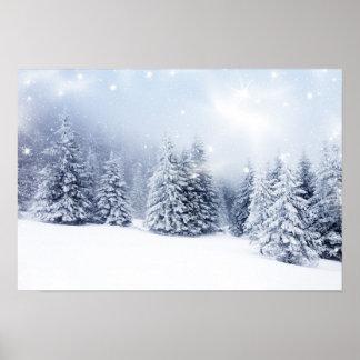 Fondo del navidad con los abetos 2 Nevado Póster