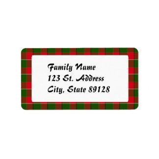 Fondo del navidad de la tela escocesa de tartán etiquetas de dirección