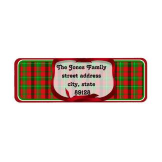 Fondo del navidad de la tela escocesa de tartán etiquetas de remite