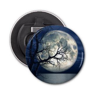 fondo del paisaje 3D con la luna sobre el mar Abrebotellas Redondo