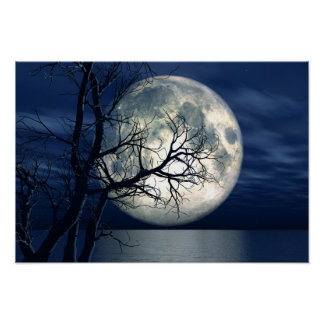fondo del paisaje 3D con la luna sobre el mar Póster