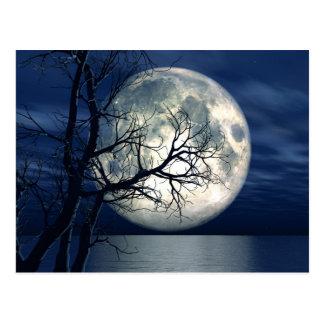fondo del paisaje 3D con la luna sobre el mar Tarjeta Postal