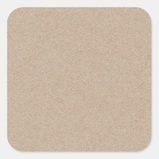 Fondo del papel de Brown Kraft impreso Pegatina Cuadrada