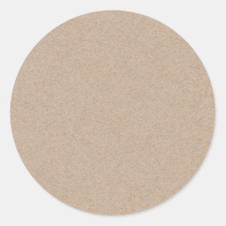 Fondo del papel de Brown Kraft impreso Pegatina Redonda