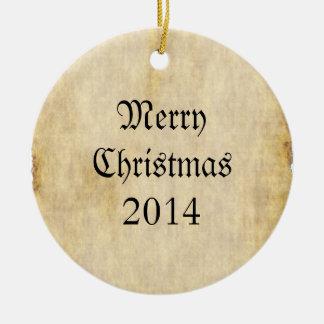 Fondo del papel de pergamino adorno navideño redondo de cerámica