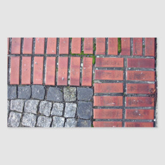 Fondo del pavimento del ladrillo y de la piedra rectangular pegatina
