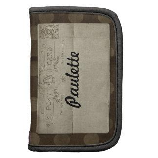 Fondo del punto de Brown de la postal del vintage Planificadores