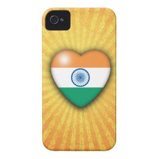 Fondo del resplandor solar del corazón de la bande Case-Mate iPhone 4 carcasa