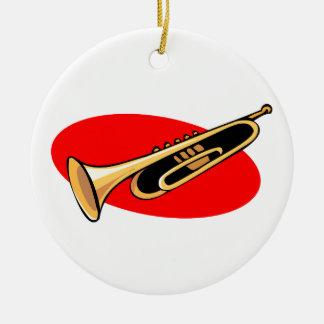 Fondo del rojo del diseño simple de la trompeta adorno redondo de cerámica