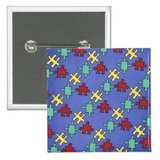 Fondo del rompecabezas de la conciencia del autism pin cuadrada 5 cm