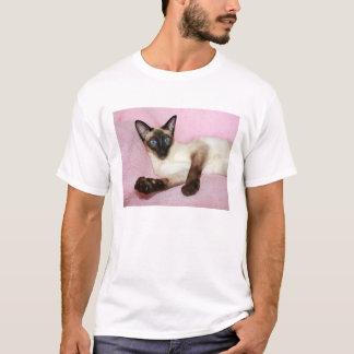 Fondo del rosa del gato siamés playera