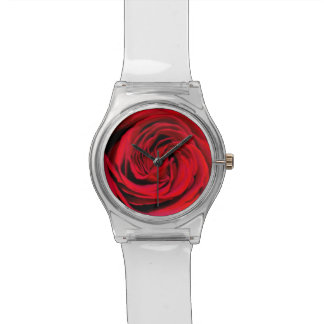 Fondo del rosa rojo reloj