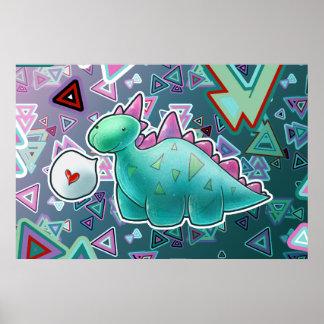 Fondo del triángulo del dinosaurio del bebé posters