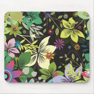 Fondo Diseño-Negro de la flor retra del estilo Tapete De Ratón