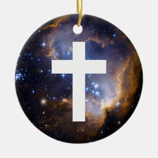 Fondo divino cruzado blanco adorno navideño redondo de cerámica