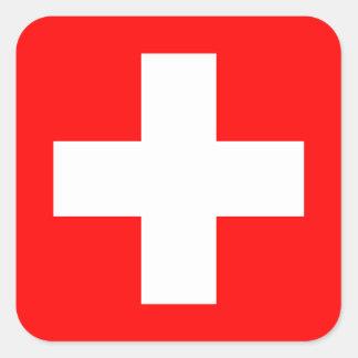 Fondo Editable, la bandera de Suiza Calcomania Cuadradas Personalizada