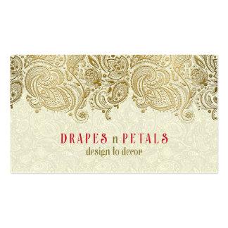 Fondo elegante del beige del cordón de Paisley del Tarjetas De Visita