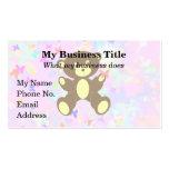 Fondo en colores pastel de la mariposa con el oso tarjeta personal
