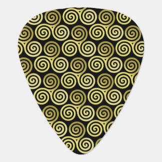 Fondo espiral triple del negro del oro plectro