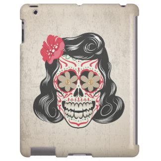 Fondo femenino del tatuaje w/Tattered del cráneo Funda Para iPad