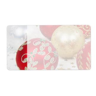Fondo festivo de los ornamentos del navidad del dí etiquetas de envío
