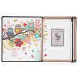 Fondo floral colorido de los corazones de los búho iPad cárcasas