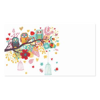 Fondo floral colorido de los corazones de los búho tarjetas de visita