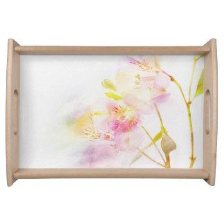 fondo floral con las flores de la acuarela bandeja
