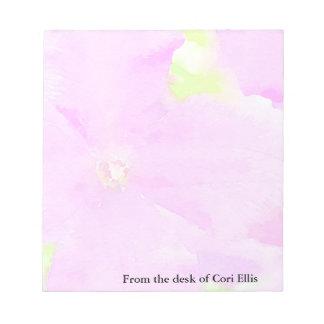 Fondo floral de la acuarela de la flor púrpura bloc de notas