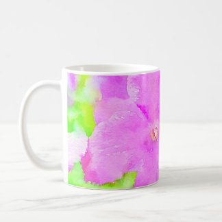 Fondo floral de la acuarela de la flor púrpura taza de café