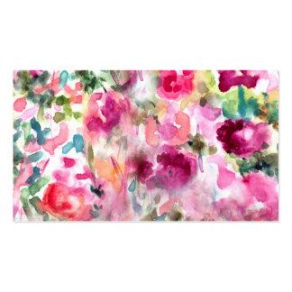 Fondo floral de la acuarela púrpura abstracta tarjetas de visita