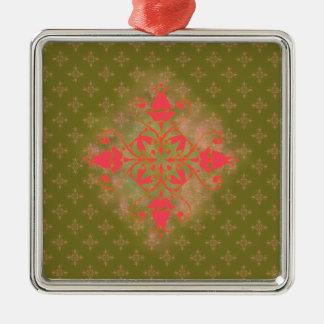 fondo floral de musgo del ornamento verde oliva adorno navideño cuadrado de metal