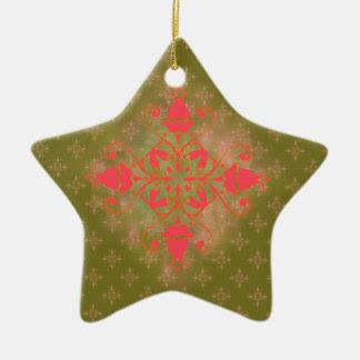 fondo floral de musgo del ornamento verde oliva adorno navideño de cerámica en forma de estrella